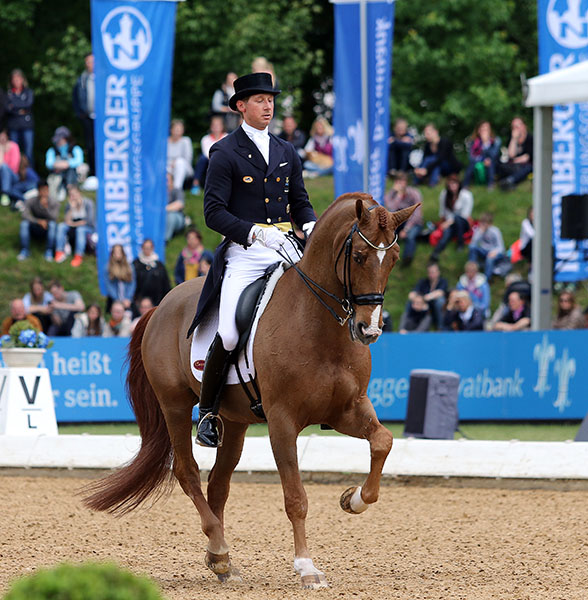 Patrik Kittel riding Watermill Scandic to fourth place in the World Dressage Masters CDI5* Grand Prix Freestyle that won the Swedish rider the €25,000 rider bonus. © 2015 Ken Braddick/dressage-news.com