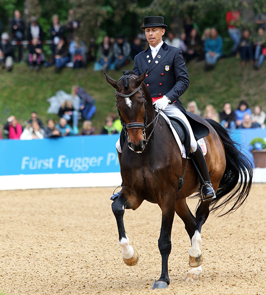 Steffen Peters on Legolas in the CDI5* Grand Prix Freestyle at Munich. © 2015 Ken Braddck/dressage-news.com