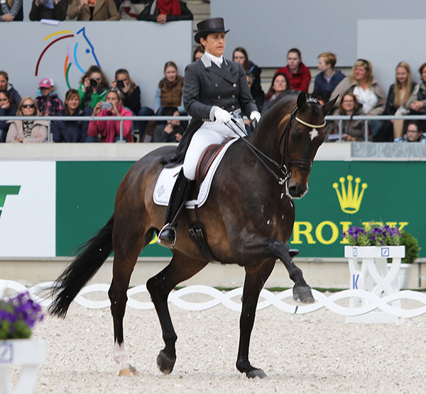 Tinne Vilhelmsson-Silfvén of Sweden riding Don Auriello to victory in the Aachen CDI5* Grand Prix Freestyle. © 2015 Ken Braddick/dressage-news.com