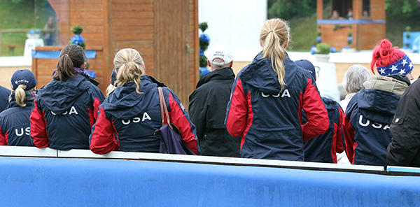 USA team jackets, for the first time one of the most common sights around the Nürnberger arena that is the center of dressage at the Munich CDI5*/3*/1* that is one of the biggest horse shows in Germany. © 2015 Ken Braddick/dressage-news.com