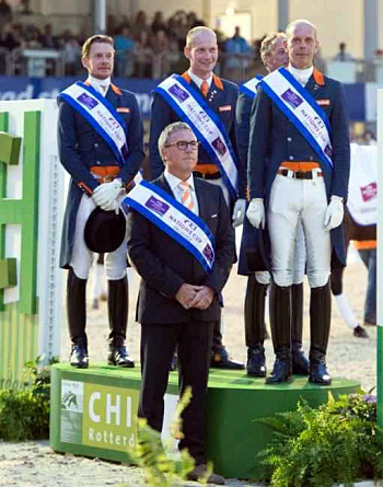 The winning Netherlands Nations Cup team with coach Wim Earnes.