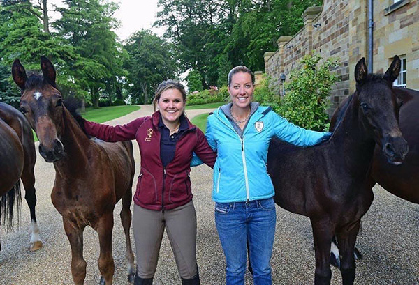 Emma Blundell (lef) and Charlotte Dujardin with Mount St. John foals
