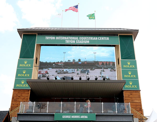 The tower with giant screen at the George Morris main stadium. © 2015 Ken Braddick/dressage-news.com
