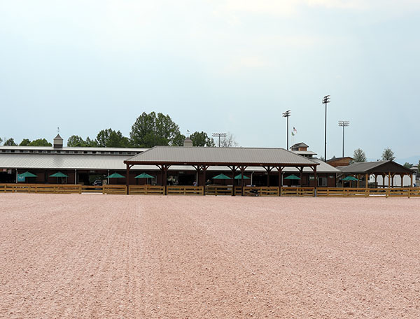 Tryon International Equestrian Center arena waiting for dressage. © 2015 Ken Braddick/dressage-news.co