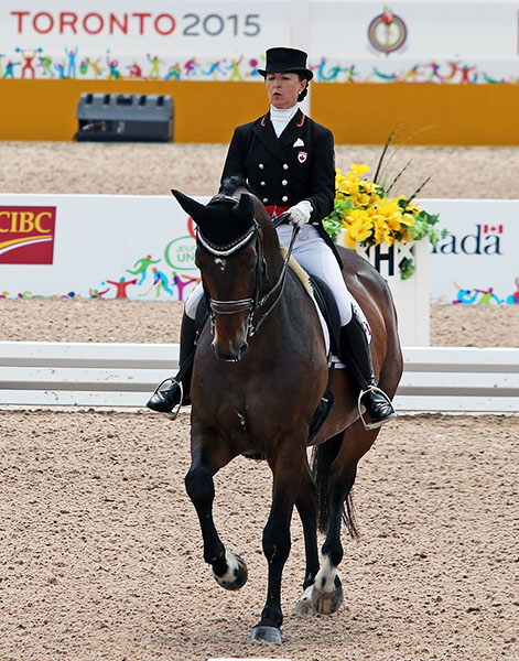 Belinda Trussell and Anton, the World Games veteran combination competing at Big Tour for Caada. © 2015 Ken Braddick/dressage-news.com