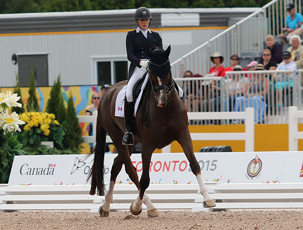 Brittany Fraser and All In at the Pan American Games individual championship. © 2015 Ken Braddick/dressage-news.com