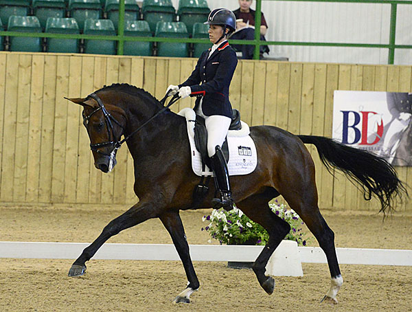 Charlotte Dujardin riding Mount St John Freestyle to claim the six-year-old championship at Hartpury. © 2015 Kevin Sparrow.​