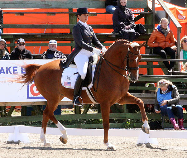 Catherine Haddad-Staller and Mane Stream Hotmail, the top placing American combination at the Falsterbo Nations Cup. © 2015 Pelle Wedenmark for dressage-news.com