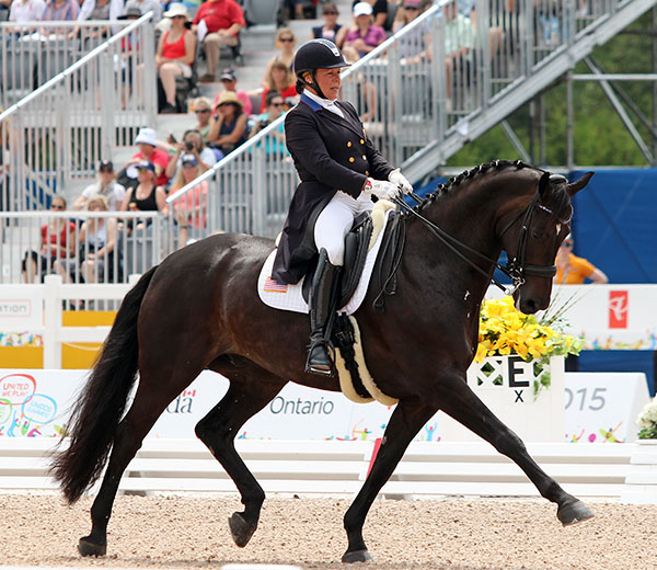 Rosmarin ridden by Kimberly Herslow in Intermediate Freestyle in the Pan American Games individual medal competition. © 2015 Ken Braddick/dressage-news.com