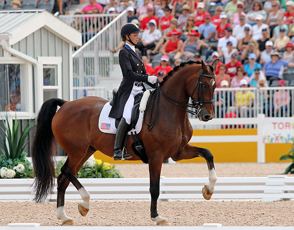 Laura Graves on Verdades helping to clinch the Pan American Games gold medal for the United States. © 2015 Ken Braddick/dressage-news.com