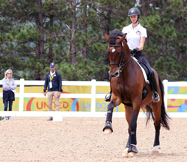 Debbie McDonald and Robert over watching Laura Graves on Verdades. © 2015 Ken Braddick/dressage-news.com
