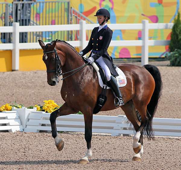 A big, bolder moving Verdades ridden by Laura Graves but a mistake in the one-tempi changes put them into fourth place. © 2015 Ken Braddick/dressage-news.com