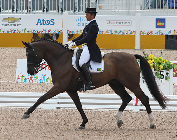 Leandro da Silva on Di Caprio that competed at small and placed sixth in the individual championship. © 2015 Ken Braddick/dressage-news.com