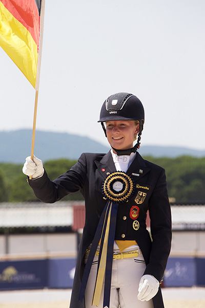 Germany's Bianca Nowag took Young Riders Team and Freestyle gold along with Individual silver at the FEI European Dressage Championships for Young Riders, Juniors and Children. © 2015 FEI/Rui Pedro Godinho