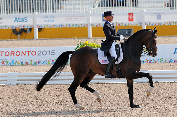 Steffen Peters and Legolas finishing their Grand Prix ride in the Pan American Games Nations Cup. © 2015 Ken Braddick/dressage-news.com
