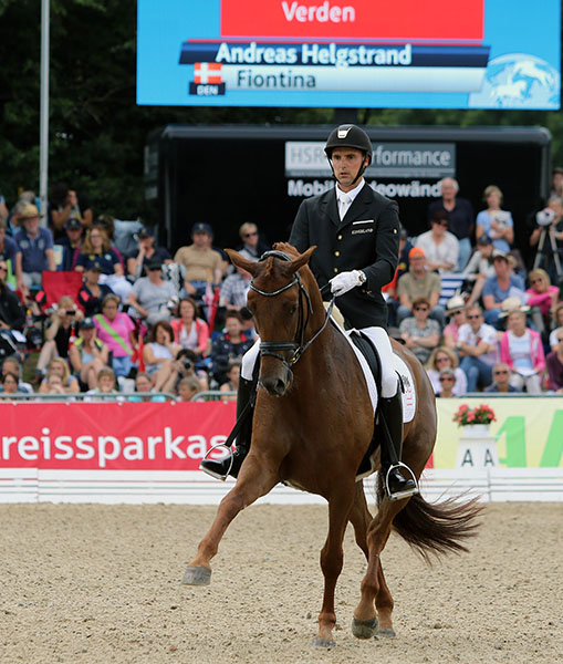 Andreas Helgstrand and Fontina in the world championship final. © 2015 Ken Braddick/dressage-news.com