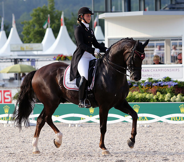 The dressage-news.com nomination for the bravest performance at the  European Championships goes to Anna Kasprzak, the 25-year-old rider of Donnperignon. Already recovering from a fall earlier this year that put her in the hospital and a complicated eye operation on the 16-year-old Finnish Warmblood gelding Anna suffered a kick to the chest that fractured her breast bone after the veterinary check Tuesday. Instead of asking for a medical certificate to excuse her from competition, she rode as the anchor of four members of the Danish team. At 72.986 per cent, the score was not up to their usual level and Denmark did not qualify a team through these championships for the Olympic Games in Rio de Janeiro next year. But for perseverance and stoicism--only those who have sustained a similar injury can imagine that pain--Anna deserves recognition. © 2015 Ken Braddick/dressage-news.com