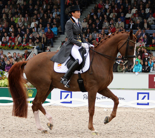 Beatriz Ferrer-Salat on Delgado on their way to the European Championships Grand Prix Freestyle bronze medal. © 2015 Ken Braddick/dressage-news.com