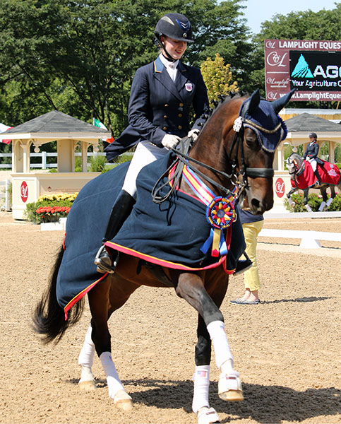 Catherine Chamberlain riding Avesto Van Weltevreden in the USA five-year-old championship honor round. © 2015 Ken Braddick/dressage-news.com