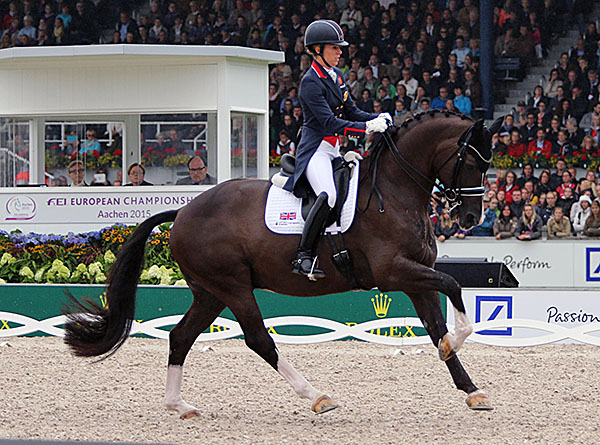 As controversial as the victory by Charlotte Dujardin on Valegro may have been to the predominantly German crowd, the performance seemed to most experts as worthy of the victory even with mistakes inthe one-tempi changes. © 2015 Ken Braddick/dressage-news.com