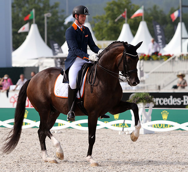 Diederik von Silfhout on Arlando in their European Chamionships Nations Cup ride. © 2015 Ken Braddick/dressage-news.com