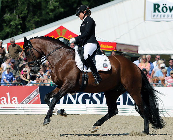 Dorothee Schnedier on Stanford, the second horse she rode in the World Six Year Old Championships final. © 2015 Ken Braddick/dressage-news.com