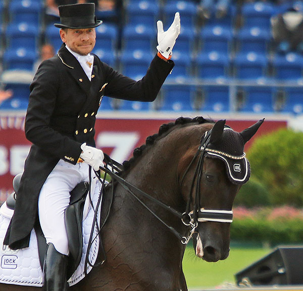 The expression on Edward Gal's face says it all after the Dutch rider and Glock's Undercover were eliminated from the European Championship Grand Prix Special because of blood in the mouth of the horse. © 2015 Ken Braddick/dressage-news.com