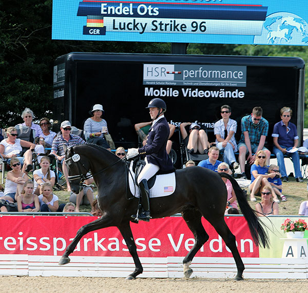 Endel Ots of the United States riding Lucky Strike at the World Young Horse Championships for five-year-olds. © 2015 Ken Braddick/dressage-news.com