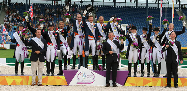 European Championships Nations Cup gold medal winners Netherlands (center), Great Britain silver (left) and Germany bronze (right). © 2015 Ken Braddick/dressage-news.com