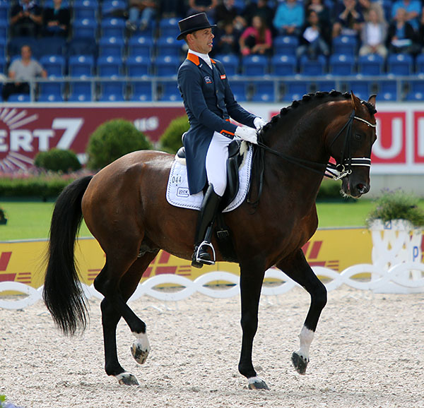 Hans Peter Minderhoud on Glock's Johnson on their way to a bronze medal in the European Championships Grand Prix Special. © 2015 Ken Braddick/dressage-news.com