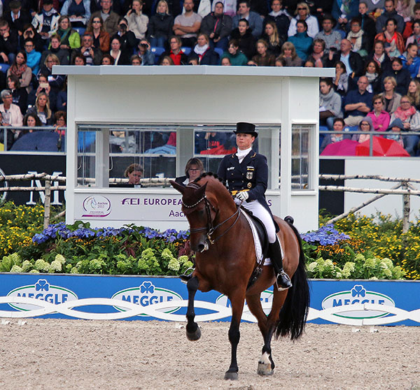 Isabell Werth on Don Johnson FRH in the European Championships Grand Prix Freestyle. © 2015 Ken Braddick/dressage-news.com