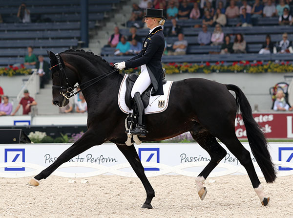 Germany's Jessica von Bredow-Werndl riding Unee BB to third place in the first part of the European Championships Nations Cup. © 2015 Ken Braddck/dressage-news.com