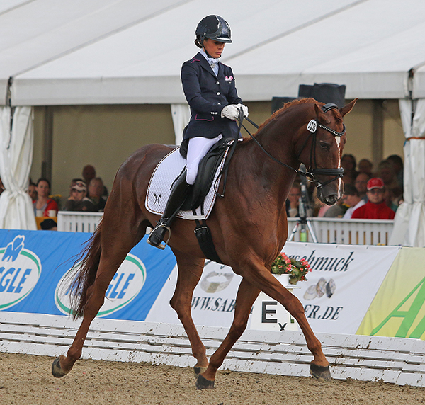 Julia-Katharina von Platen and Danza in the World Young Horse Championshis six-year-old first qualifier. © 2015 Ken Braddick/dressage-news.com