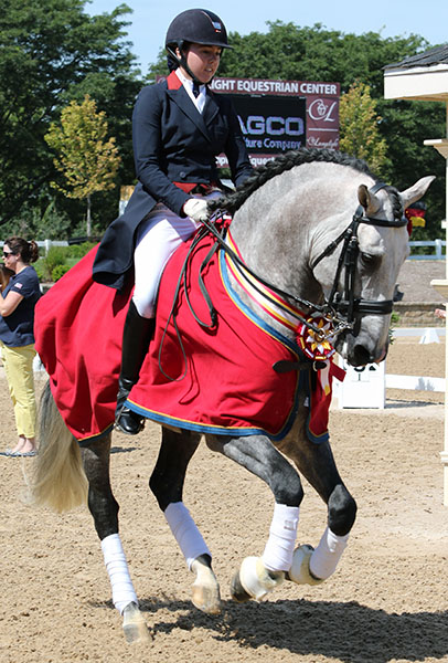 Kerrigan Gluch on Vaquero HGF, reserve USA Young Rider Champion. © 2015 Ken Braddick/dressage-news.com