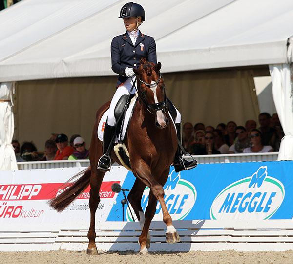 Kirsten Brouwer and Eye Catcher in the World Six Year Old Championships. © 2015 Ken Braddick/dressage-news.com