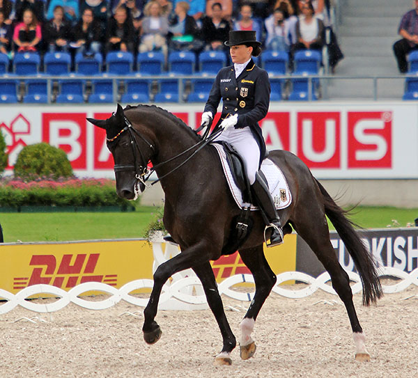 Kristina Bröring-Sprehe and  Desperados FRH in the European Championship Grand Prix Special. © 2015 Ken Braddck/dressage-news.com