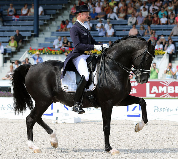 Totilas being ridden by Matthias Alexander Rath on the final centerline of their European Championship Grand Prix. © 2015 Ken Braddick/dressage-news.com