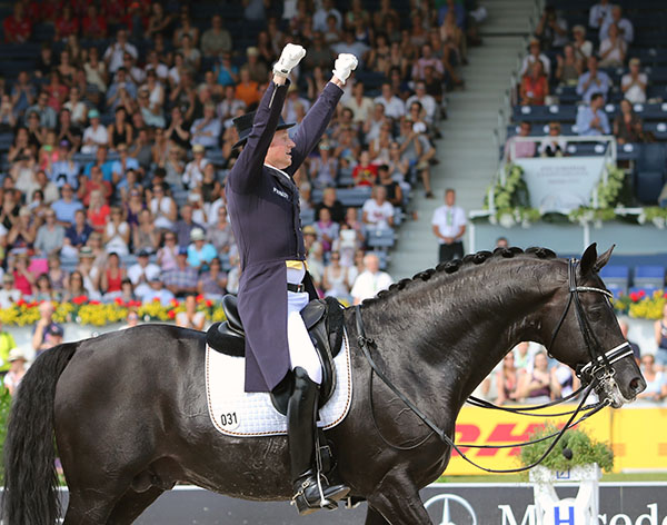 Matthias Alexander Rath on Totilas at the end of their Grand Prix ride in the European Championships Nations Cup, unaware of the controversy that was to surround the horse. © 2015 Ken Braddick/dressage-news.com