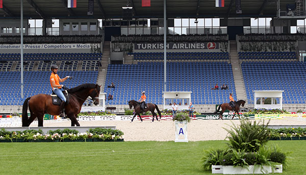 Netherlans team riders in Aachen's Main Stadium before the start of the competition. © 2015 Ken Braddick/dressage-news.com