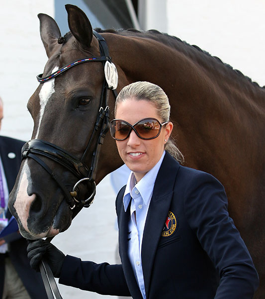 Charlotte Dujardin leading Valegro in the veterinary check. © 2015 Ken Braddick/dressage-news.com