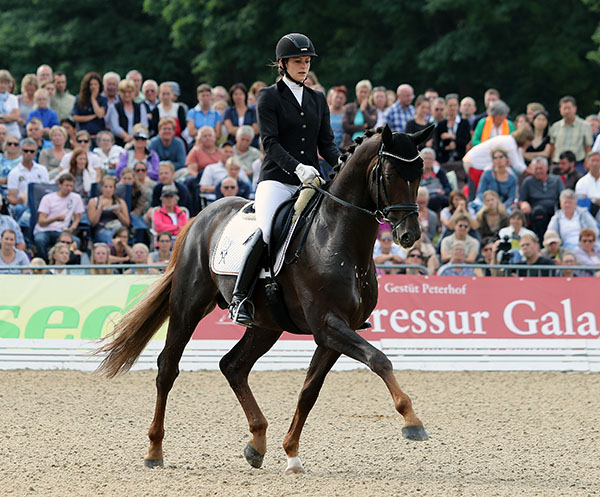 Vera Nass on Quartensprung in the ride that won the World Young Horse Championship bronze medal for five-year-olds. © 2015 Ken Braddick/dressage-news.com