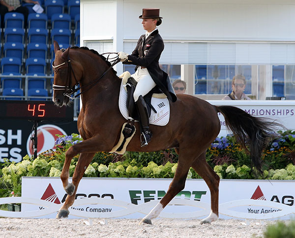 Victoria Max-Theurer, with three Olympics on her resume though still under 30 years of age, is looking to qualify Blind Date for Rio de Janeiro in 2016. Her main mount, Augustin OLD, has major dietary issues that preneted thestallion from being Vici's competition mount at the 2919 World Games in Kentucky and would do so In Rio. So she is seeking to qualify Blind Date and finished in the top group with 75.200 per cent in the European Championships.  © 2015 Ken Braddick/dressage-news.con