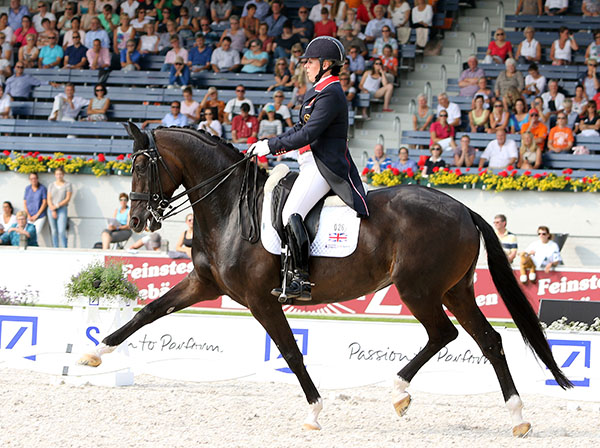 Fiona Bigwood and Atterupgaards Orthilia riding on Great Britain's silver medal team at the European Championships. © 2015 Ken Braddick/dressage-news.com