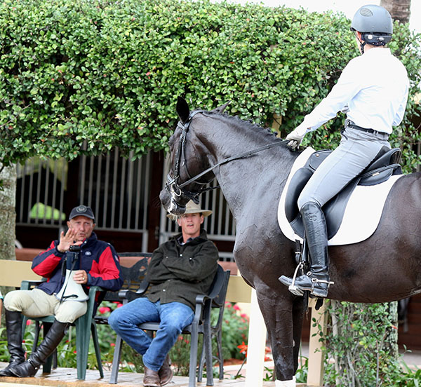 Sauvignon and Ilse Schwarz paying close attention to George Morris. © 2015 Ken Braddick/dressage-news.com