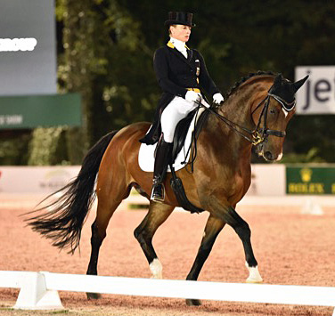 Isabell Werth on El Santo NRW in the Central Park Horse Show rand Prix Freestyle.