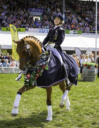 The New Zealand combination of Julie Brougham on Vom Feinsten   that posted an Australasian Grand Prix Freestyle record on 76.02 per cent at at the 2015 Horse of the Year event. Photo: © 2015 Libby Law/Equestrian Sports New Zealand