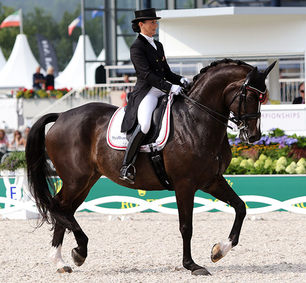 Mikala Gundersen and My Lady at the European Championships this year, the culmination of a European campaign by the Florida-based rider that was made possible by prize money earned at the Global Dressage Festival. © 2015 Ken Braddick/dressage-news.com