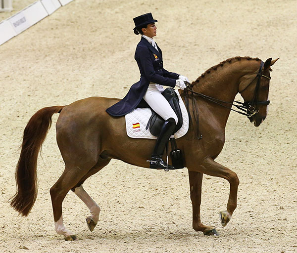 Beatriz Ferrer-Salat of Spain riding Delgado to their first World Cup victory by winning at Lyon.