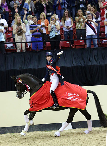 Charlotte Dujardin on Valegro celebrating 2015 World Cup title at Las Vegas. © 2015 Ken Braddick/dressage-news.com