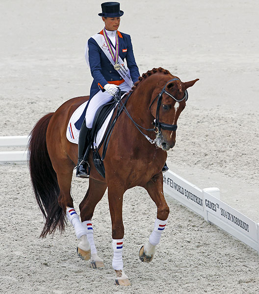 Parzival ridden out of the 2014 World Games after the pair's last championship competition for the Netherlands. © Ken Braddick/dressage-news.com